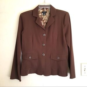 Brown Stretch Blazer Poly Spandex Sz 8P